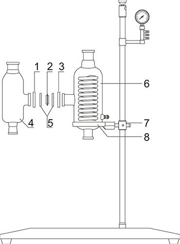 Auxiliary condenser and three-way flask installation drawing